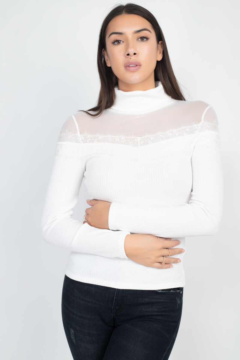 IT91393<br/>Ribbed Turtleneck Lace Top